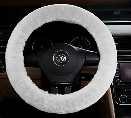 Zento Deals Soft Stretchable Sheepskin White Steering Wheel Cover Protector - A Must Have for All Car Owners for a More Comfortable Driving (Car Stering Wheel Cover compare prices)