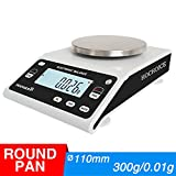 Hochoice Laboratory Digital Analytical Balance high-Precision Electronic Scales Jewelry Scales Industrial Scale(Round pan) (300g/0.01g)