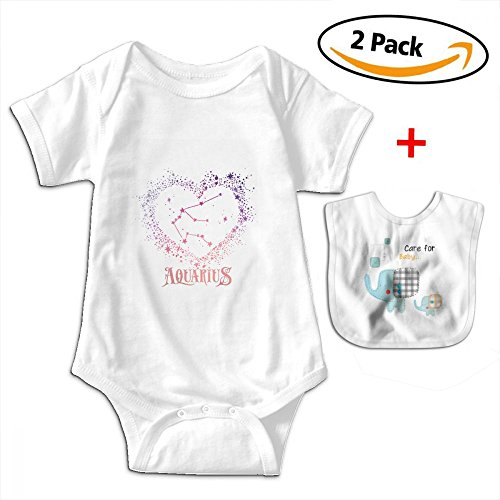 Price comparison product image POOPEDD Aquarius Zodiac Sign Unisex Baby Short Sleeve Onesies Romper Bodysuit Outfits