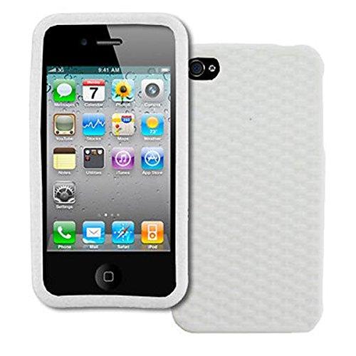 EMPIRE Apple iPhone 4 / 4S Silicone Skin Case Étui Coque Cover Couverture (Blanc Weave Texture)