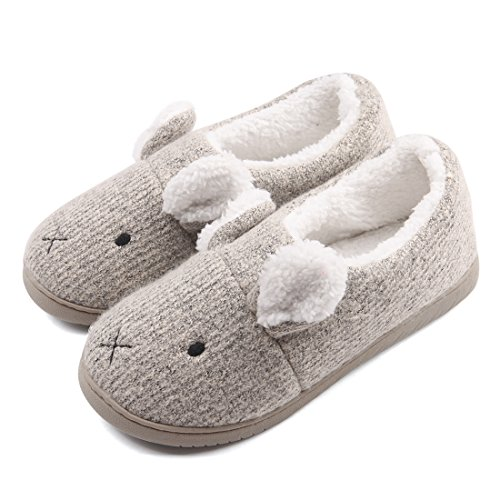 Neeseelily Women Comfort Plush Cozy Home Slippers Animal Non Slip Indoor Shoes (7.5-8B(M) US, Grey)