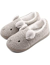 Women Comfort Plush Cozy Home Slippers Animal Non Slip Indoor Shoes