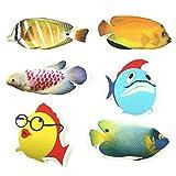 6 pcs Fish Bathtub Stickers Safety Fish Decals Tread Non Slip Anti-Skid Applique New