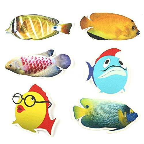 6 pcs Fish Bathtub Stickers Safety Fish Decals Tread Non Slip Anti-Skid Applique New by Unknown