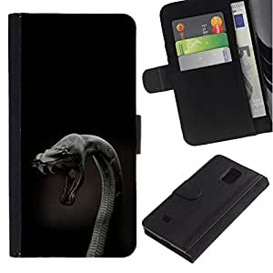 All Phone Most Case / Oferta Especial Cáscara Funda de cuero Monedero Cubierta de proteccion Caso / Wallet Case for Samsung Galaxy Note 4 IV // Cobra Snake Close Up
