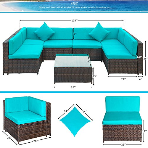 Rattan Furniture Corner Sofa Ebay: 7PC Patio Wicker Furniture Sofa Garden Rattan Set