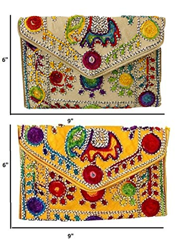 Purse Cross Handbags for set clutch 2 Ethnic purses Maroon Body women traditional Creem Collections Yellow Lonika of Creem evening v8w4PP