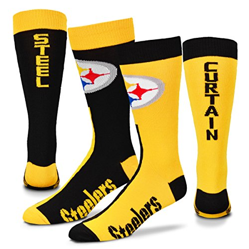 (Pittsburgh Steelers Big Top MisMatch Crew Socks Size Large 10-13 - For Bare Feet)