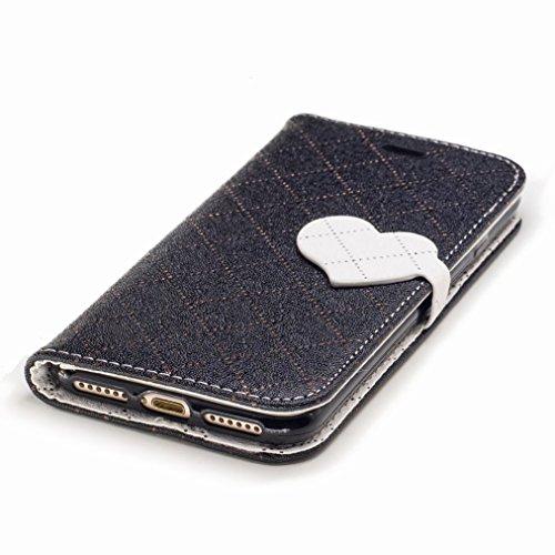 Yiizy Apple IPhone 7 Custodia Cover, Amare Design Sottile Flip Portafoglio PU Pelle Cuoio Copertura Shell Case Slot Schede Cavalletto Stile Libro Bumper Protettivo Borsa (Nero)