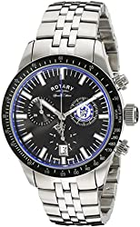 Rotary Men's gb90048/04 Stainless Steel Chelsea Football Black Dial Watch