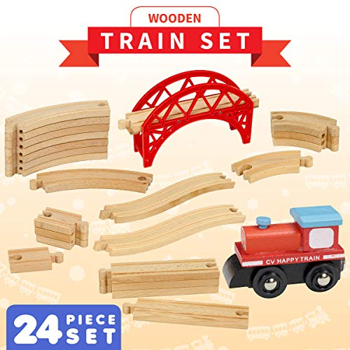 Dragon Drew 24 Piece Wooden Train Set - Compatible with Brio, Thomas, Chuggington and All Major Brands – Accessories and Expansion Kit Includes 22 Tracks, a Bridge and 1 Engine Car