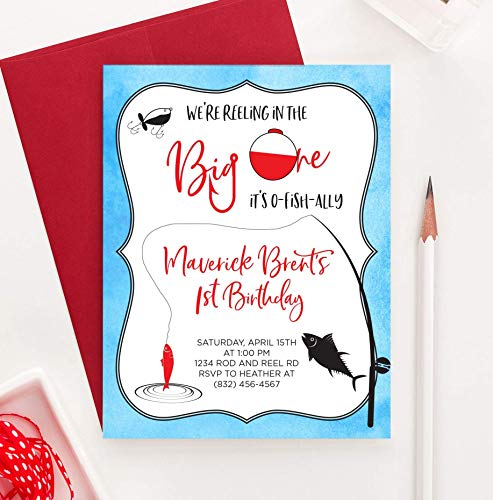 Fishing Birthday Invitation for Boys, Fishing Invitations for Kids Party, Your choice of Quantity, Age, Info and Envelope -