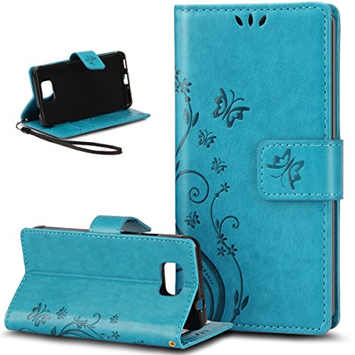 Galaxy Alpha Case,NSSTAR Butterfly Flower Flip PU Leather Fold Wallet Pouch Case Premium Leather Wallet Flip Stand Credit Card ID Holders Case Cover for Samsung Galaxy Alpha G850,Blue