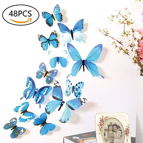 48 PCS Removable 3D Butterfly Wall Stickers Decals DIY Wall Art Decor Home Wall Decoration Sticker Mural for Kids Girls Children Bedroom Living Room Background Nursery (Blue)