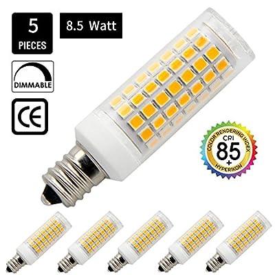E11 Base Led Light Bulb 8.5W, 75W or 100W Equivalent halogen Repalcement 850 Lumens, 110, 120v,130V,Dimmalbe,5-pack