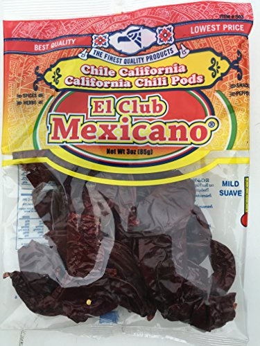 California Chile Mild Spicy Dried Great for Barbacoa Red Chili Pods Bag 3 oz (California Pod Chili)