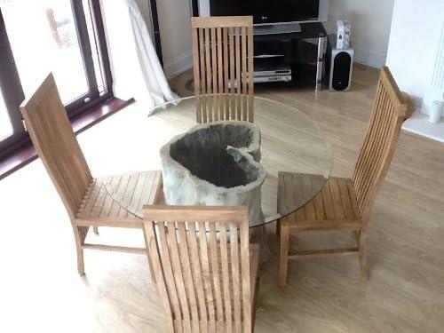 Estilo Java circular de madera multicolor Kitchen Root mesa de comedor, haya juego de mesa y sillas teca - 120 cm tablero de cristal: Amazon.es: Hogar