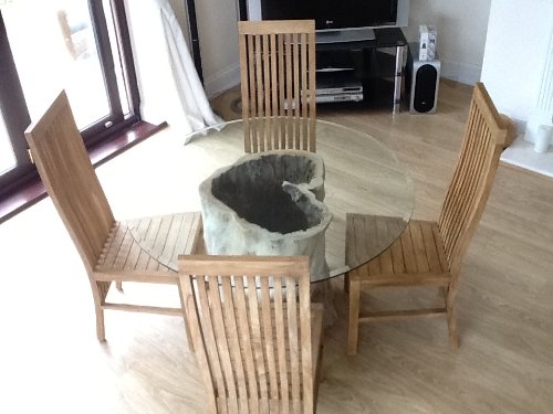 Saturday Kitchen Driftwood Style Circular Java Root Dining Table With Four Reclaimed Teak Chairs