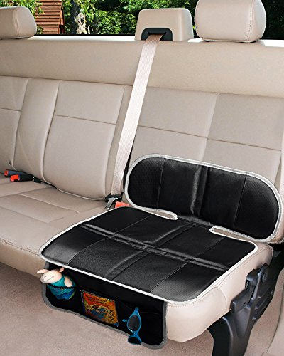 Car Seat Protector, Thick Padding Protection for Child & Baby Cars Seats, Dog Mat, Non Slip and Waterproof Protects Automotive Vehicle Upholstery with Extra Storage Pocket (Black)