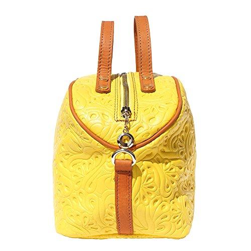 Bolsa de maquillaje de cuero con correa larga 301 Amarilla-tostado