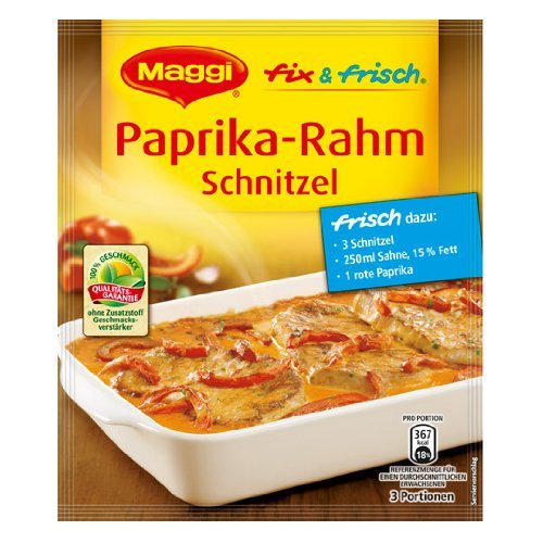 (MAGGI fix & fresh creamy schnitzel with bellpeppers (Paprika-Rahm Schnitzel) (Pack of 4) )