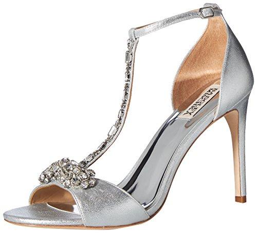 Badgley Mischka Women's Pascale II Heeled Sandal, Silver/Metallic Suede, 5.5 M US (Metallic Suede Footwear)