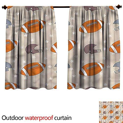 BlountDecor Curtain for outdoorAnti-Water W55 x L45(140cm x 129cm) Football,Faded Stars and Stripes
