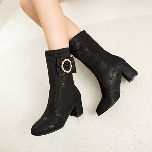 AIYOUMEI Bows Autumn Calf Slip on Rhinestone Block Toe with Black Round Winter Women's Heels Boots Mid Fashion wExzEr