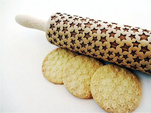 Rolling pin STARS. Wooden embossing rolling pin with STARS pattern. Embossed cookies. Pottery. Birthday gift.