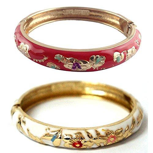 UJOY Elegant Bracelet Gold Plated Enameled Jewelry Spring Hinge Metal Cuff Cloisonne Bangles Set 2 PCS Gift Box Packed 55A87 red