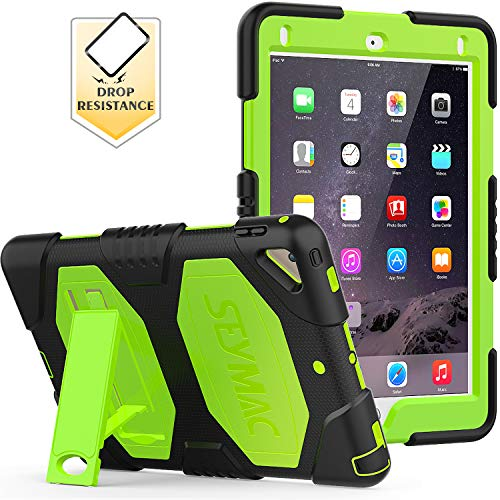 New iPad 9.7 inch 2017 2018 Case,SEYMAC Three Layer Shockproof Scratch Resistant Cover with Kickstand for iPad 5th/6th Generation (Black/Green)