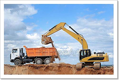 Barewalls Excavator and Rear-End Tipper Paper Print Wall Art (10in. x 15in.) (Rear Excavator)