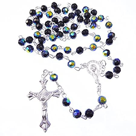 Catholic Miraculous black round glass rosary beads gold chain 51cm length