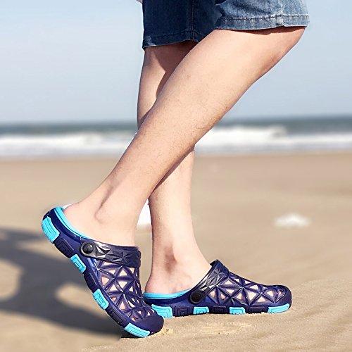 fankou Zapatillas de Playa Verano Masculino Baotou Antideslizante Zapatillas Suaves Corrientes de Fondo Cool Pantuflas Macho 44,B- Azul Oscuro