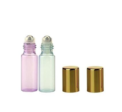 Botellas roll-on para aceites esenciales con tapón dorado (10 unidades,