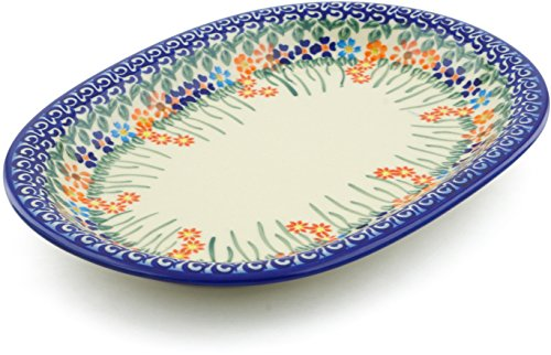 Polish Pottery 11½-inch Oval Platter (Blissful Daisy Theme) + Certificate of Authenticity
