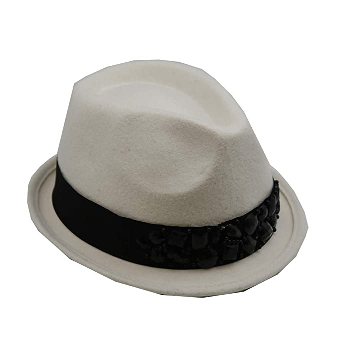 b29caf5c08a Hat Short Brim Fedora Jeweled Trim - Colors   Black White  Amazon.ca   Clothing   Accessories