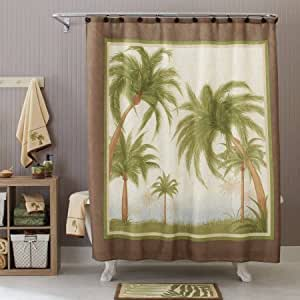 Better homes and gardens palm cove fabric shower curtain home kitchen for Better homes and gardens shower curtains