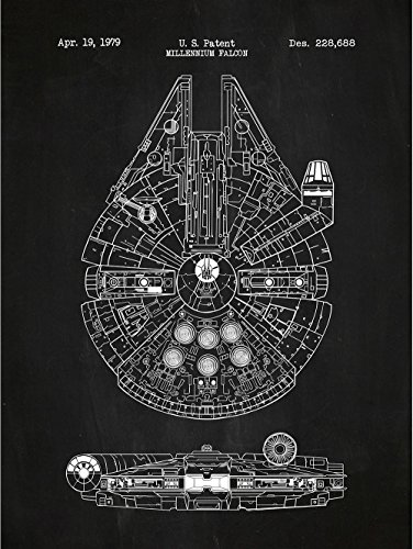 Inked and Screened Millennium Falcon Posters & Prints, 18 x 24, Chalkboard -