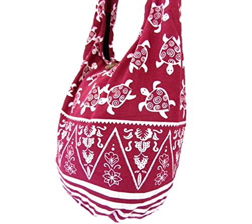 Women Hobo Crossbody Hippie Purse Thai Turtle Sling Sea Medium Shoulder Maroon for Bag Boho 5ZInq5wP