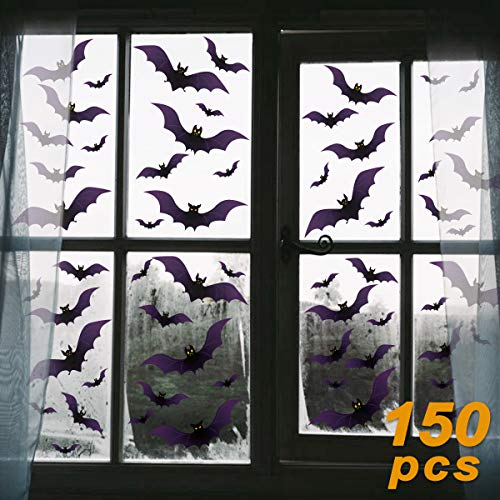Pawliss Halloween Window Decorations, 150 Pack Bat Window Clings Decor, Bats Scary Mirror Decoration (Not Decals for Wall or -