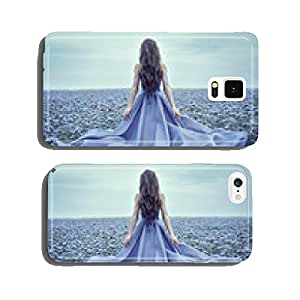 Back view of standing young woman in blue dress cell phone cover case iPhone5