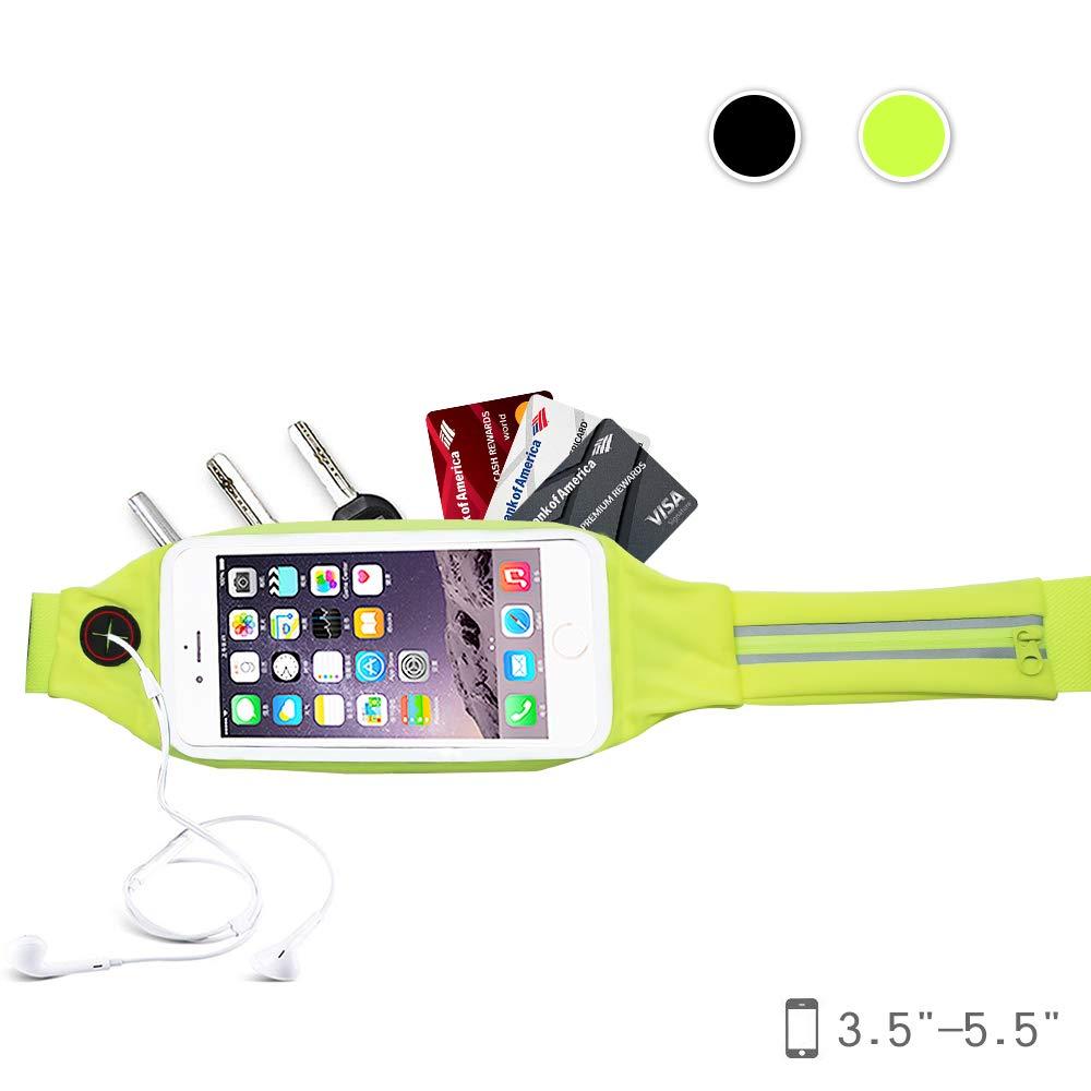 Noryer ランニングベルト タッチスクリーンウィンドウとエクストラポケット付き 反射ウエストパック 防水 iPhone 8 Plus 7 6s Samsungに対応  グリーン B07GSS86Q1