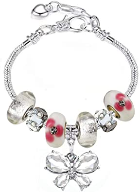 White Birch Fit Pandora Bracelets with Charms Set Teen Girls Gifts Ideas  Adjustable 6.7-8.3 Inch Butterfly and Flower Jewelry