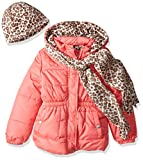 Pink Platinum Little Girls' Quilted Puffer With Hat and Scarf, Coral, 4