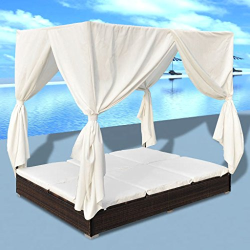 Amazon.com: Tidyard 2-Person Sun Lounger with Curtains ...