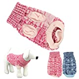 HP95 Hot! Fashion Knitted Sweater Twist Design Pet Puppy Knit Clothes (L, Rose) For Sale