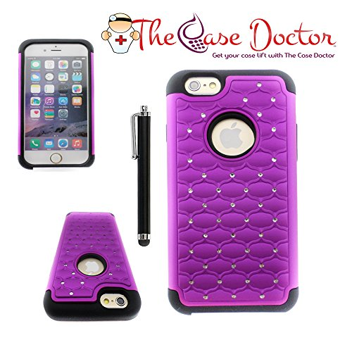 TCD for Apple iPhone 6 PLUS / 6S PLUS [PURPLE] Diamond Executive Armor Defender [HIGH IMPACT] Multi Layer Hard TPU Soft Silicone Mix Shock Absorbent Case SCREEN PROTECTOR STYLUS