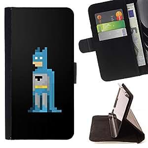 "Bright-Giant (Bat héroe 8 Bit Computer Game Hombre"") Modelo Colorido Cuero Carpeta Tirón Caso Cubierta Piel Holster Funda Protección Para Apple iPhone 5 / iPhone 5S"
