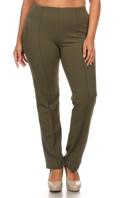 4GOG Apparel Women's Plus Size Solid Stretch Straight Leg Pants